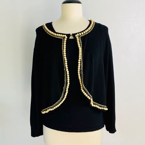Cable & Gauge Beautiful Beaded Black Cardigan 3X